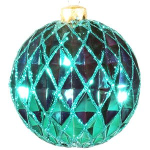 kerstbal ca 10cm ruit lichtgroen