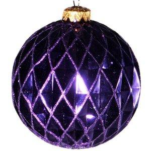 kerstbal ca 10cm ruit paars