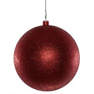 basis kerstbal  glitter rood ca 20cm diameter