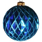 kerstbal ruit ca 15cm rond lichtblauw