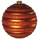 kerstbal streep horizontaal oranje ca 15cm