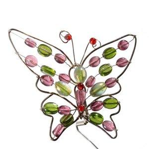 vlinder ca. 12 x 12cm roze groen rood