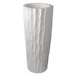 Kunststof ribbel pot vaas wit ca 125cm hoog