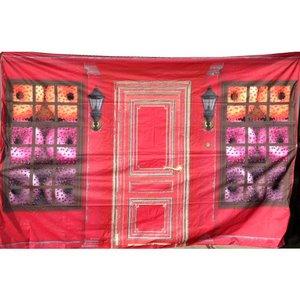 doek ramen kransjes 350 x 250cm rood