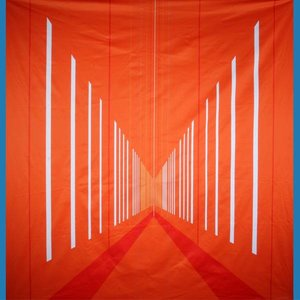 doek sport oranje blauw ca.350 x 250cm