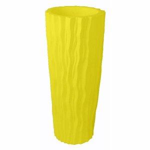 Ribbel vaas pot geel
