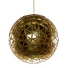 Kerstbal ca 20cm goud met driehoek decor
