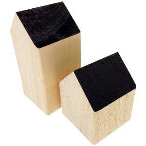 huisje massief hout ca 7 x 7 x 14cm hoog zwart
