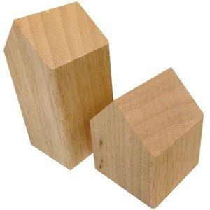 huisje massief hout ca 7 x 7 x 14cm hoog blank