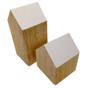 huisje massief hout ca 8 x 8 x 10cm laag wit