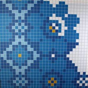 Doek mozaïek blauw ca 225 x 225cm