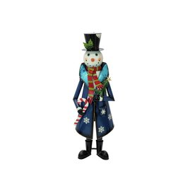 EUROPALMS EUROPALMS Snowman with Coat, Metal, 150cm, blue
