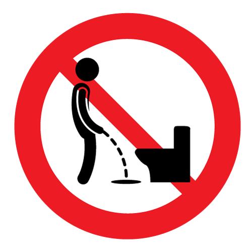 Verboden naast de wc te plassen