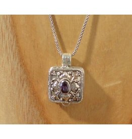 Keepsake locket square amethyst