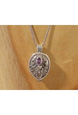 Keepsake locket droplet amethyst