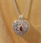 Keepsake locket heart garnet