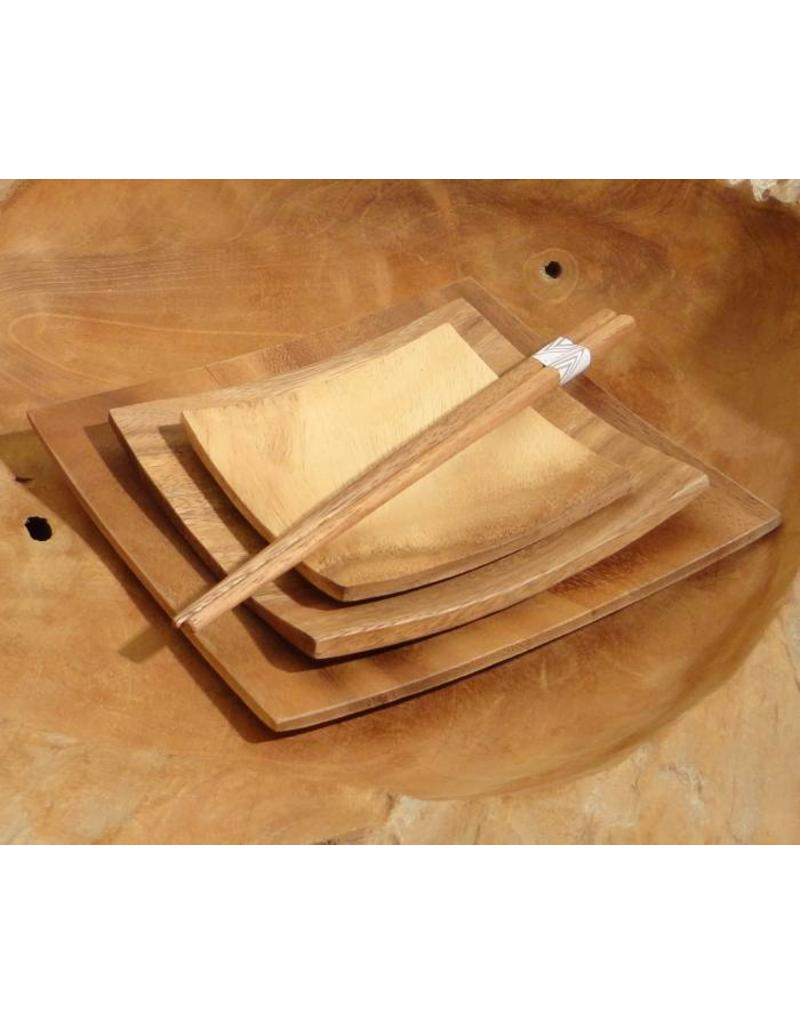 Kinta plate set square acacia wood