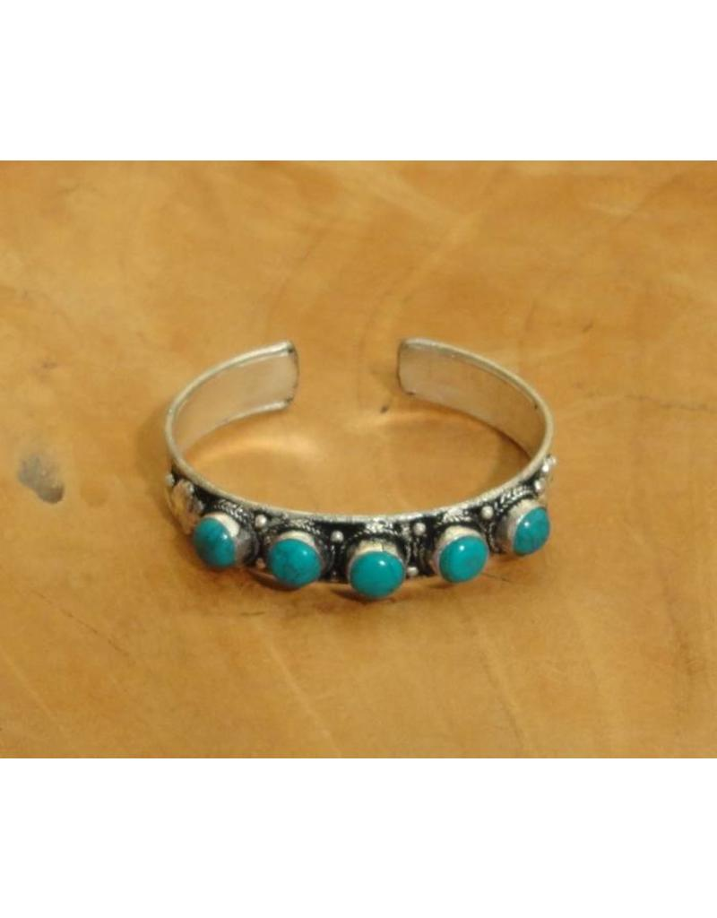 Dakini Tibetan bracelet with five turquoise semi precious gemstones
