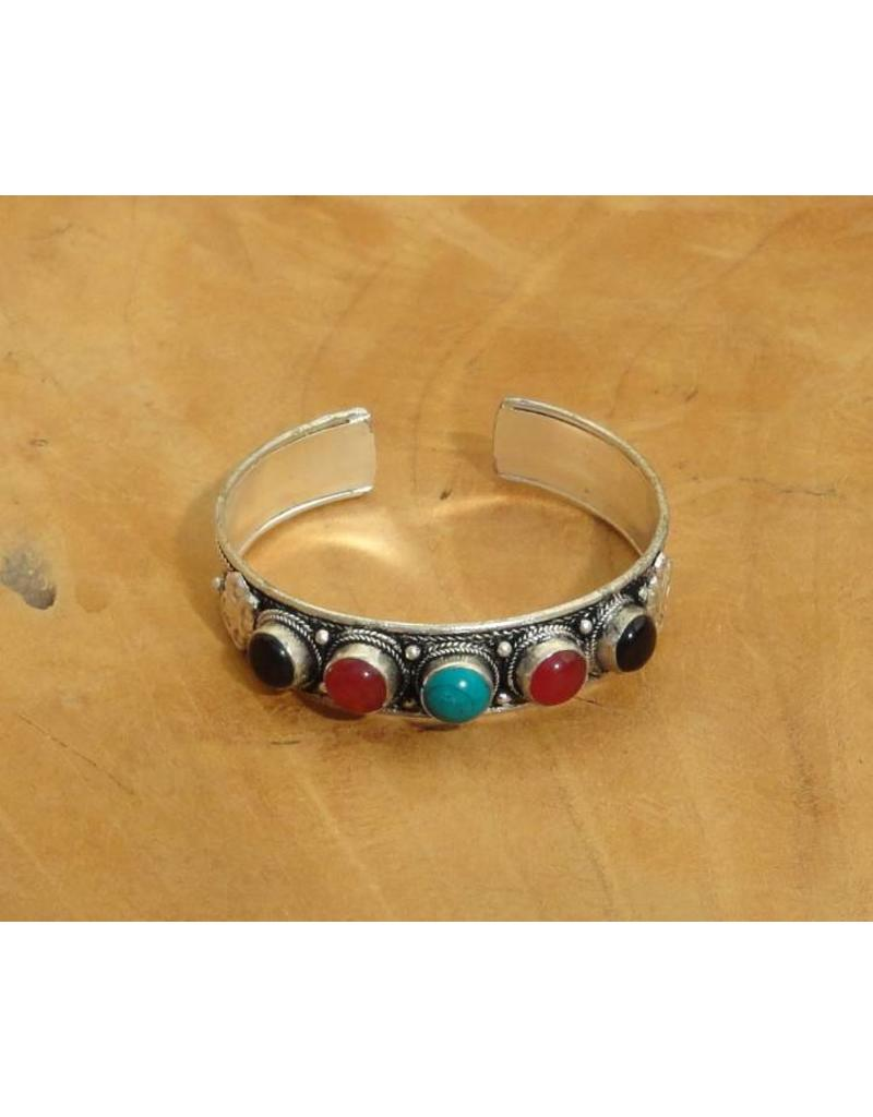 Dakini Tibetan bracelet with five different semi precious gemstones