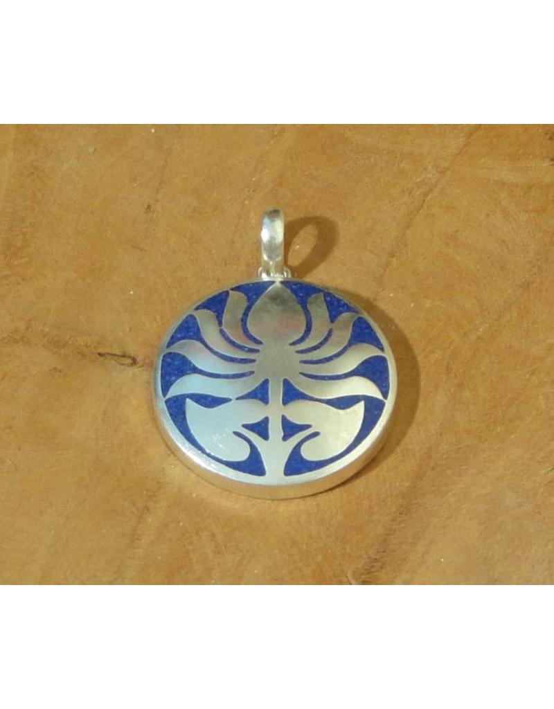 Dakini Tibetan pendant lotus blue