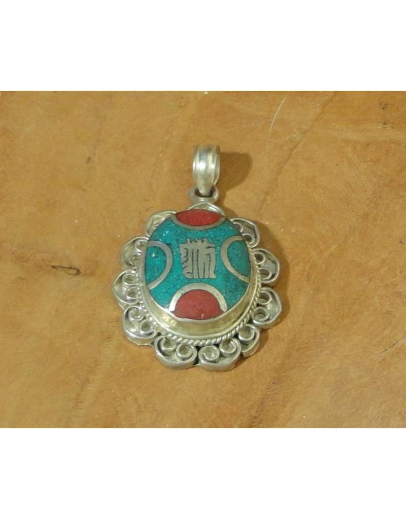 Dakini Tibetan pendant OMPH filigrain