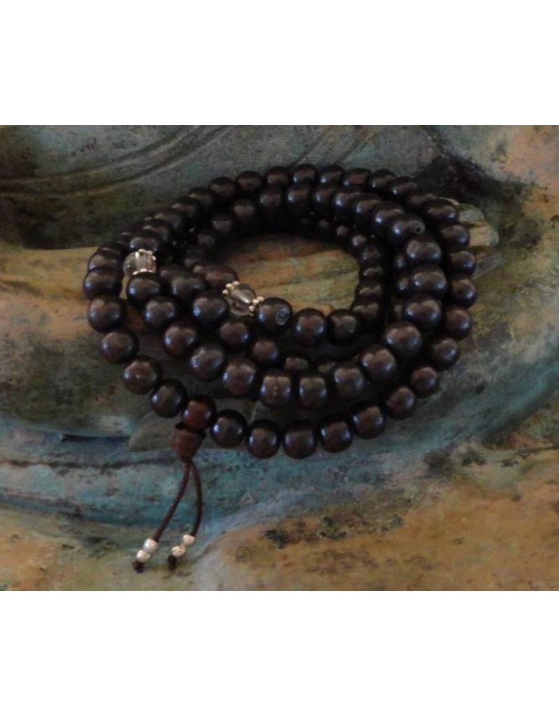 Dakini Mala with dark rosewood and glass beads