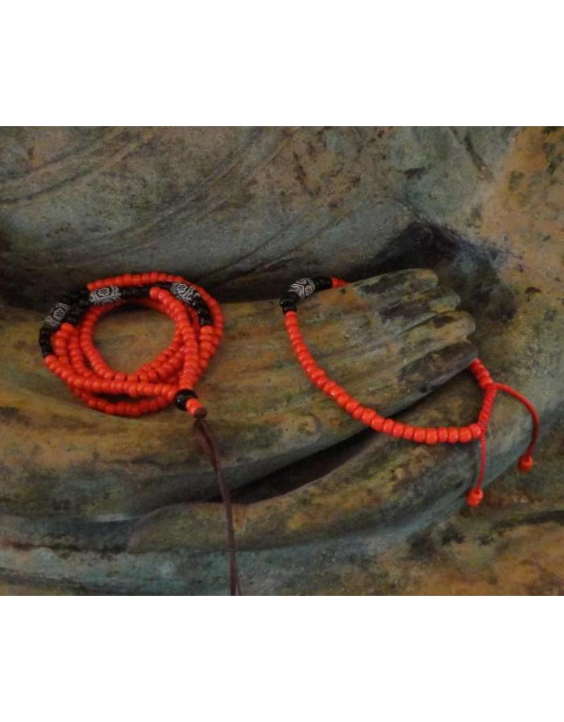 Dakini Mala set with red and black glass beads
