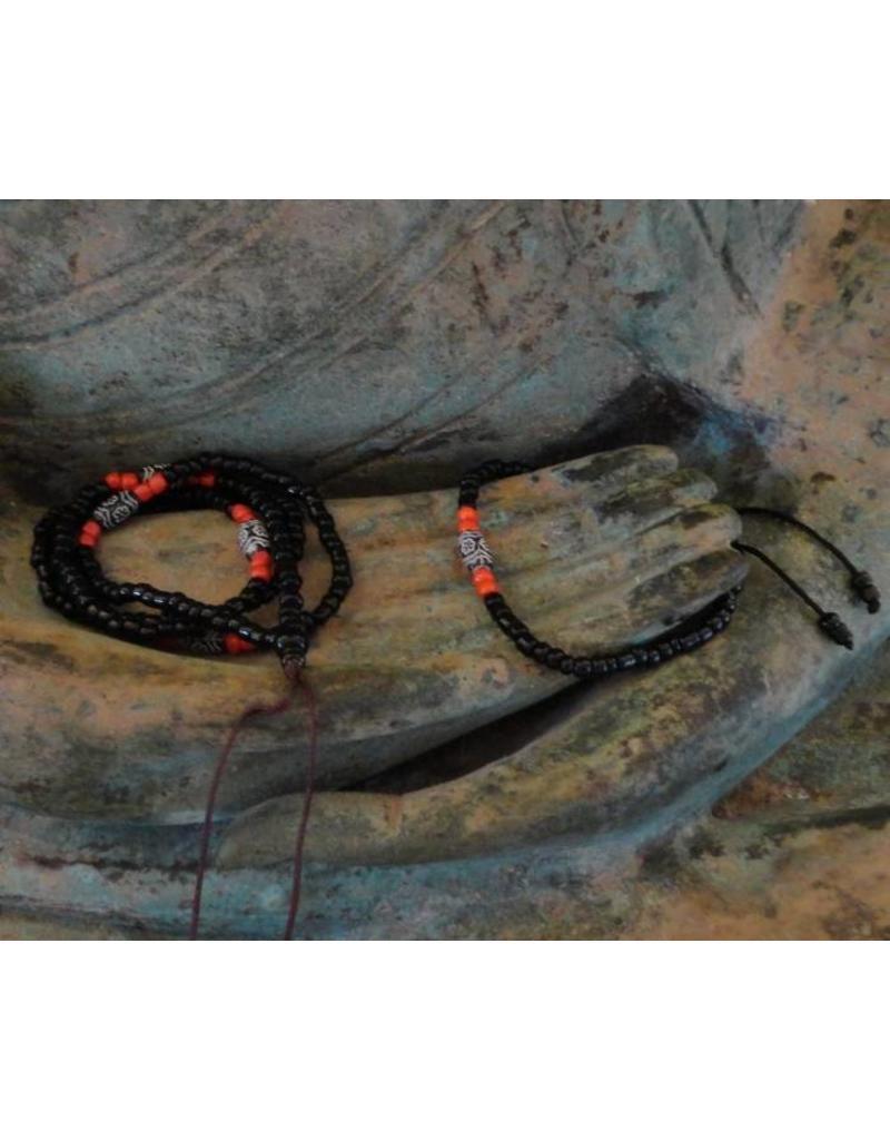 Dakini Mala set with black and red glass beads