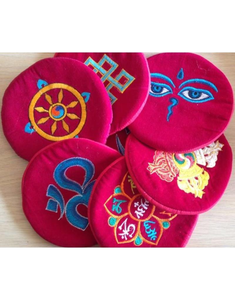 Dakini singing bowl cushion with Buddhist symbol