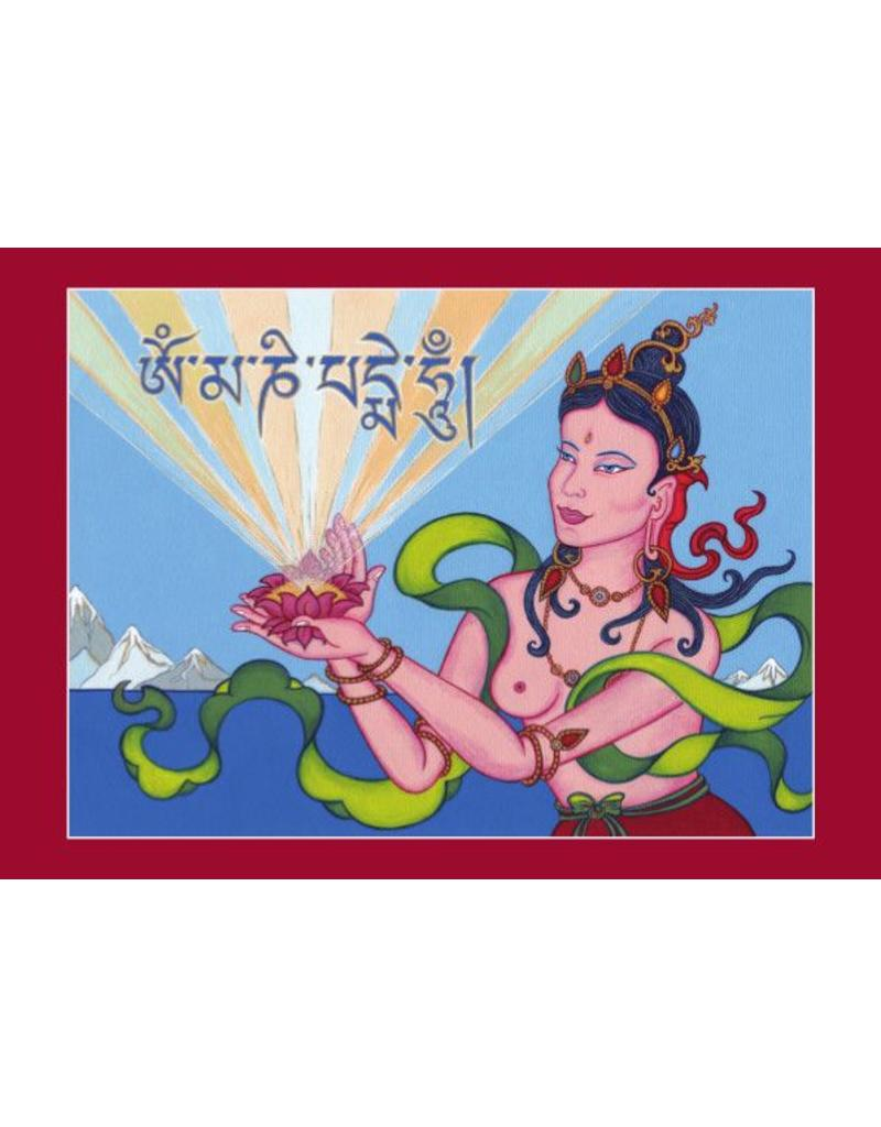 Tibetan Buddhist Art postcard Offering Goddess