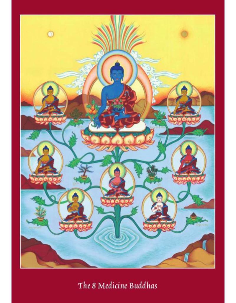 Tibetan Buddhist Art postkaart De 8 Medicijn Boeddha's