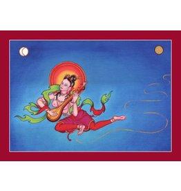 Tibetan Buddhist Art postkaart Offerande Godin Muziek