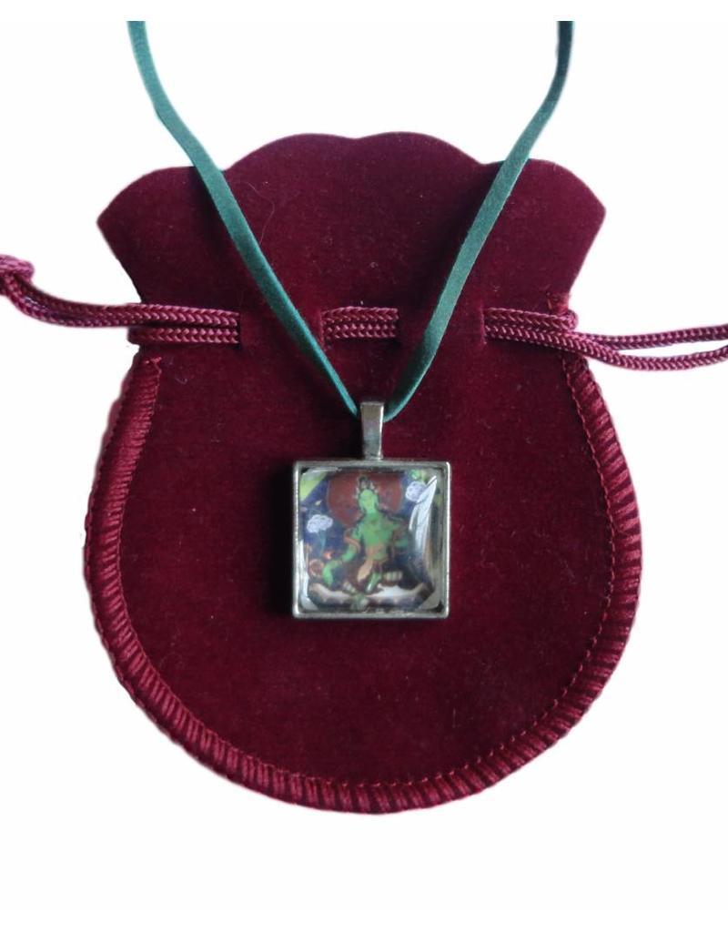 Tibetan Buddhist Art necklace Green Tara square