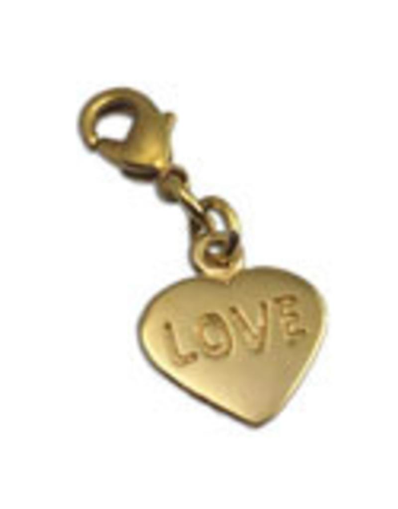 Shanti charm heart recycled brass