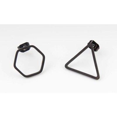 Oorbel drie- & zeshoek RVS (358077)