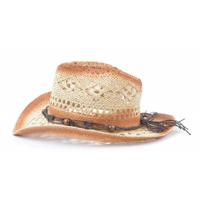 Cowboyhoed houten balletjes beige (895291)