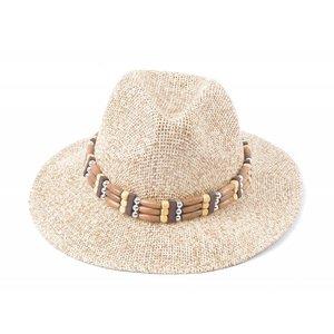 Panamahoed houten band bruin