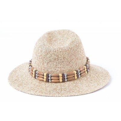 Panamahoed houten band bruin (895289)