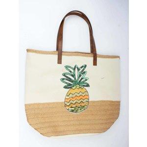 Strandtas pajetten ananas beige