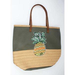 Strandtas pajetten ananas groen