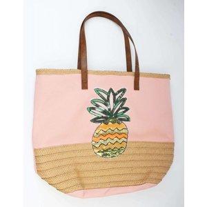 Strandtas pajetten ananas roze