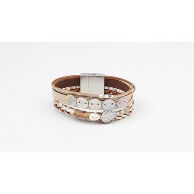 Armband leder met schelp nude  (327830)