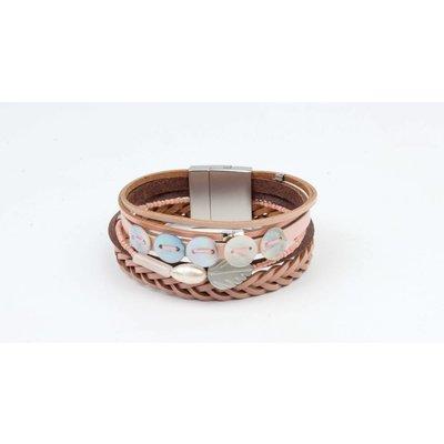 Armband leder met schelp blush (327830)