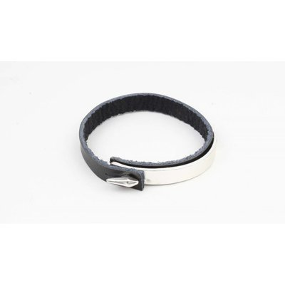 Armband bangle metaal/leder mat zilver (327833)