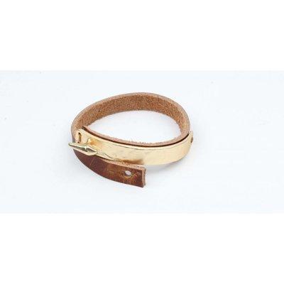 Armband bangle metaal/leder mat goud (327833)