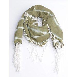 Ronde sjaal met rondom slierten, khaki