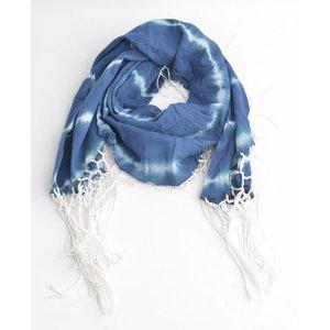 Ronde sjaal met rondom slierten, blauw