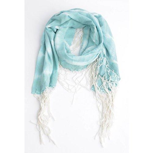 Ronde sjaal met rondom slierten, aqua