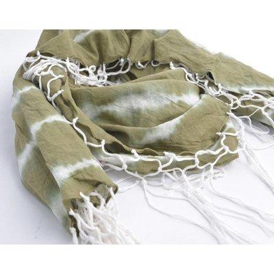Ronde sjaal met rondom slierten, khaki (710076)