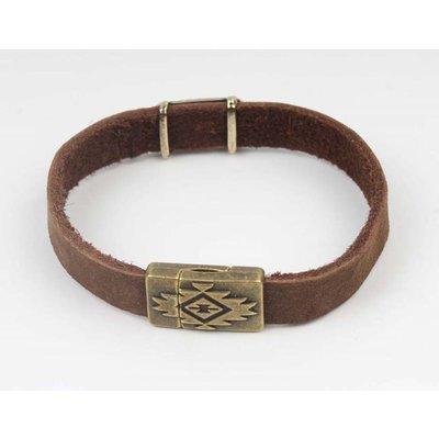 Bracelet leather Aztec Brown-brass (327805)
